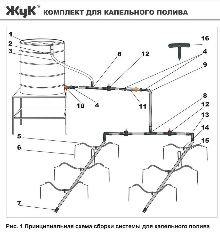 схема капельного полива на примере набора для капельного полива «Жук»