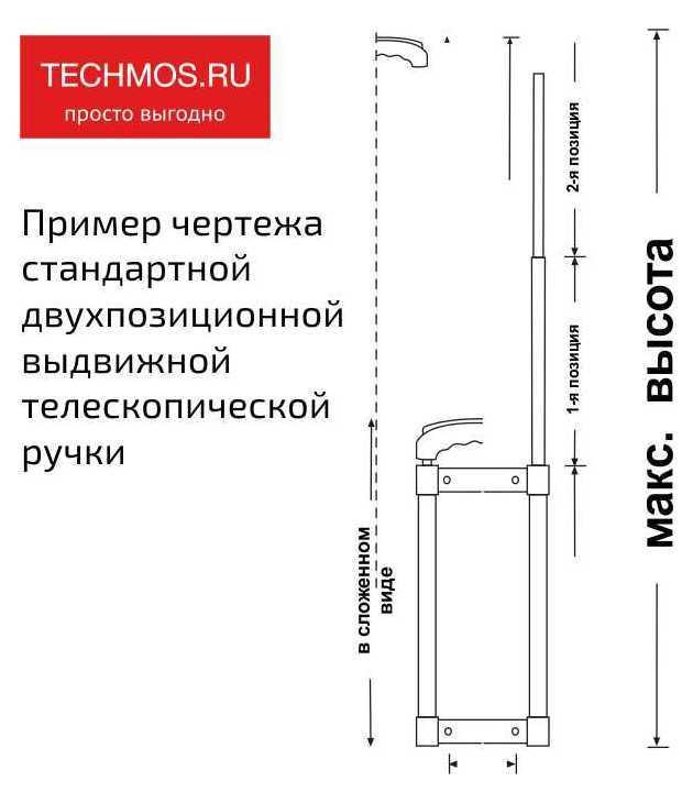 Пример чертежа стандартной двухпозиционной выдвижной телескопической  ручки